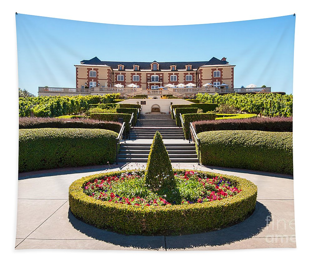 Domaine Carneros Tapestry featuring the photograph Domaine Carneros Winery and Vineyard in Napa Valley California. by Jamie Pham