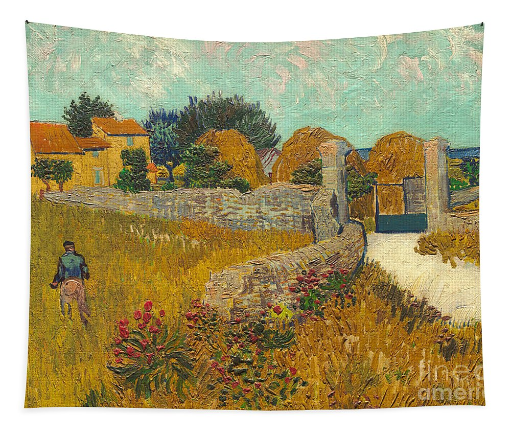 Farmer; Agriculture; Field; Farm; France; South Of France Tapestry featuring the painting Farmhouse In Provence by Vincent van Gogh