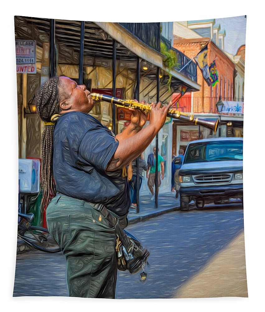 Nola Tapestry featuring the photograph Feel It - Doreen's Jazz New Orleans 2 by Steve Harrington