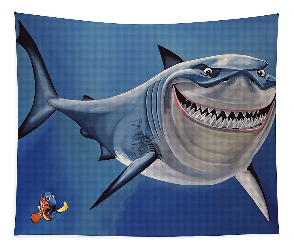 Finding Nemo Tapestry featuring the painting Finding Nemo Painting by Paul Meijering