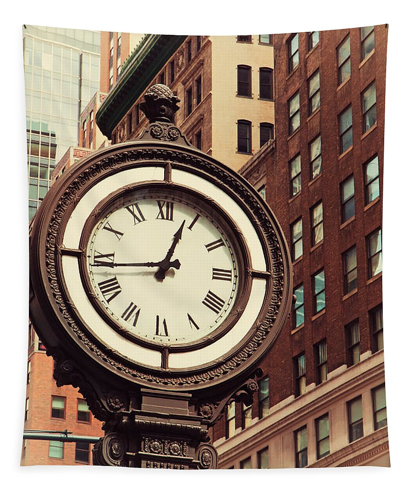 America Tapestry featuring the photograph Historic Clock Of The Fifth Avenue by Jaroslav Frank