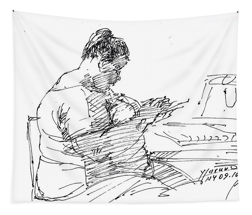 Heavy Lady Tapestry featuring the drawing Lady On Smartphone by Ylli Haruni