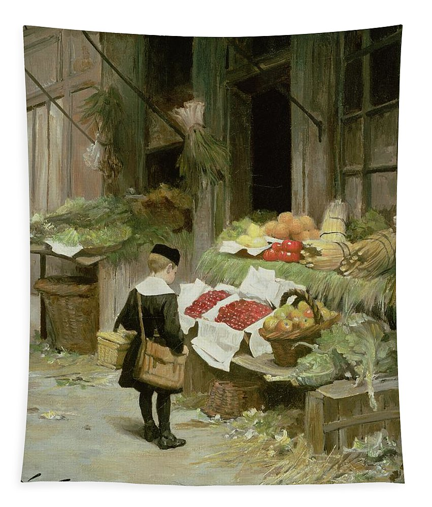 Satchel; Uniform; Cap Tapestry featuring the painting Little Boy At The Market by Victor Gabriel Gilbert