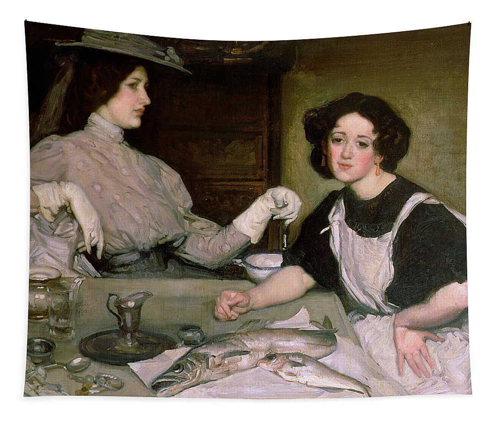 Kitchen Maid; Gloves; Fish Tapestry featuring the painting Lottie And The Lady by George Washington Lambert