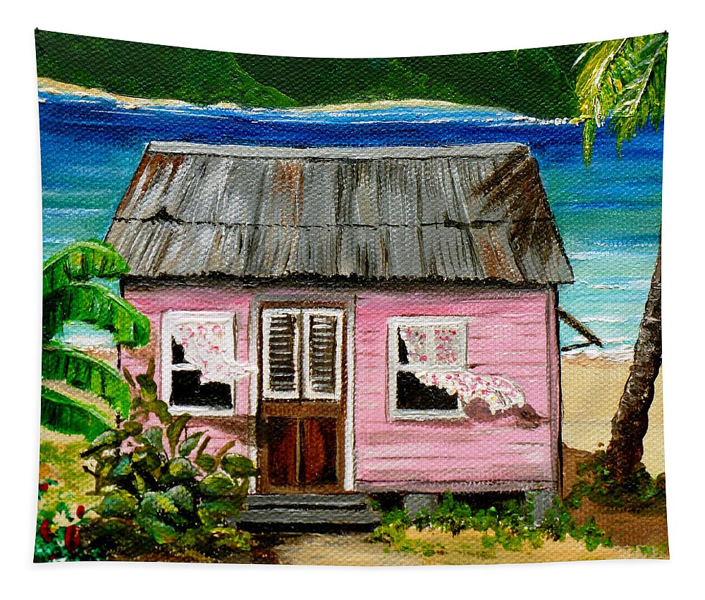 Caribbean House Tapestry featuring the painting Pink Caribbean House by Karin Dawn Kelshall- Best