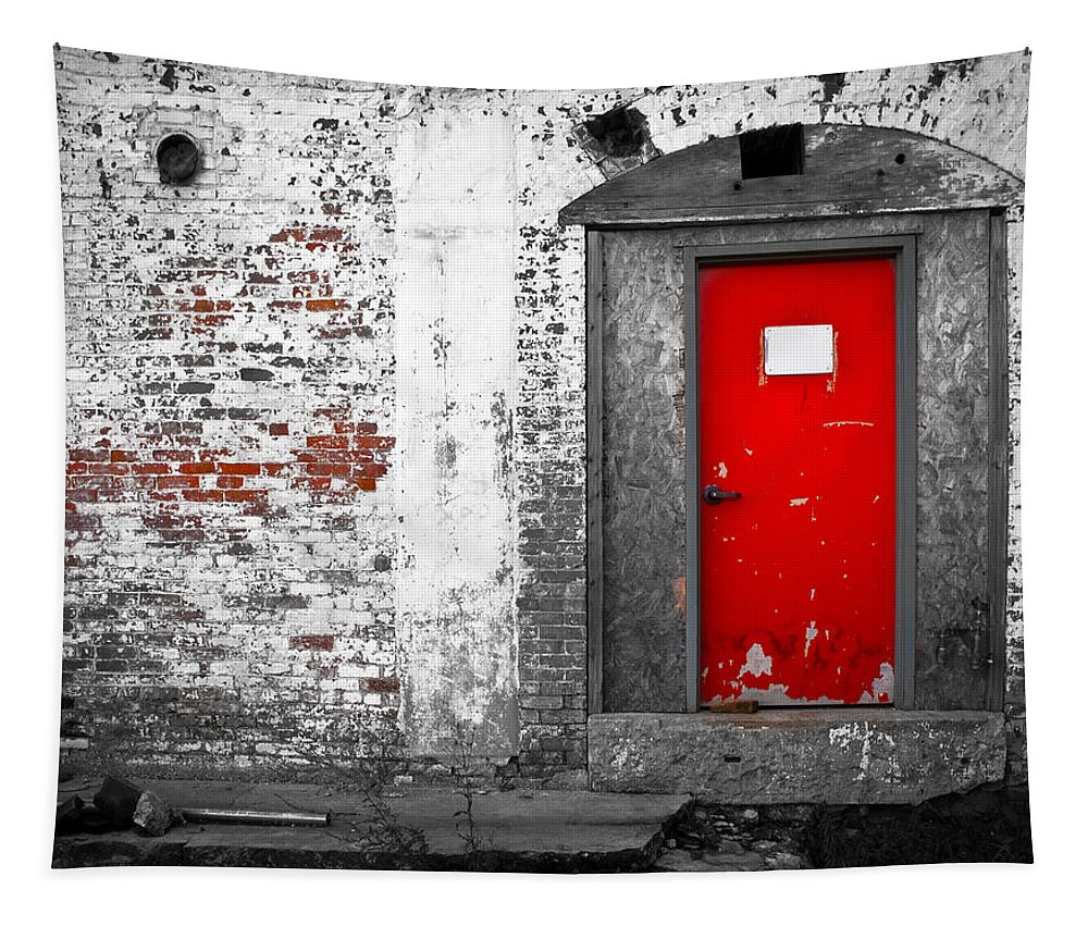 Huxley Tapestry featuring the photograph Red Door Perception by Bob Orsillo