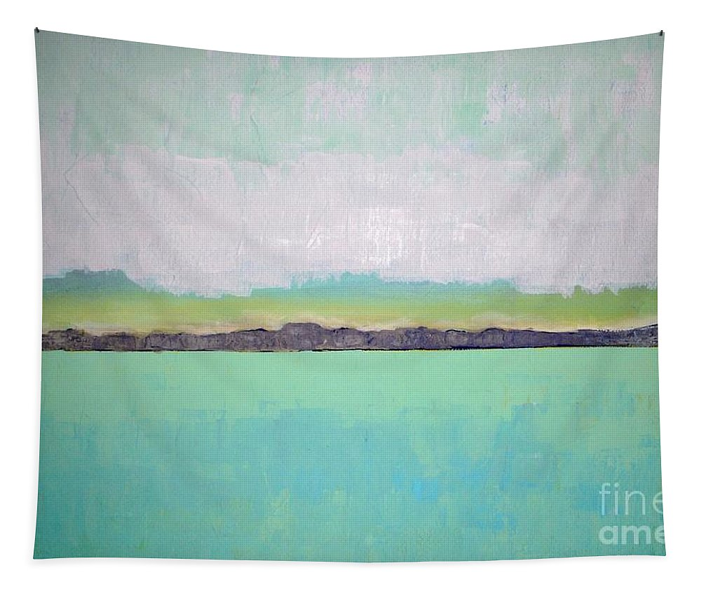 Landscape Tapestry featuring the painting Peace of the Lake by Vesna Antic