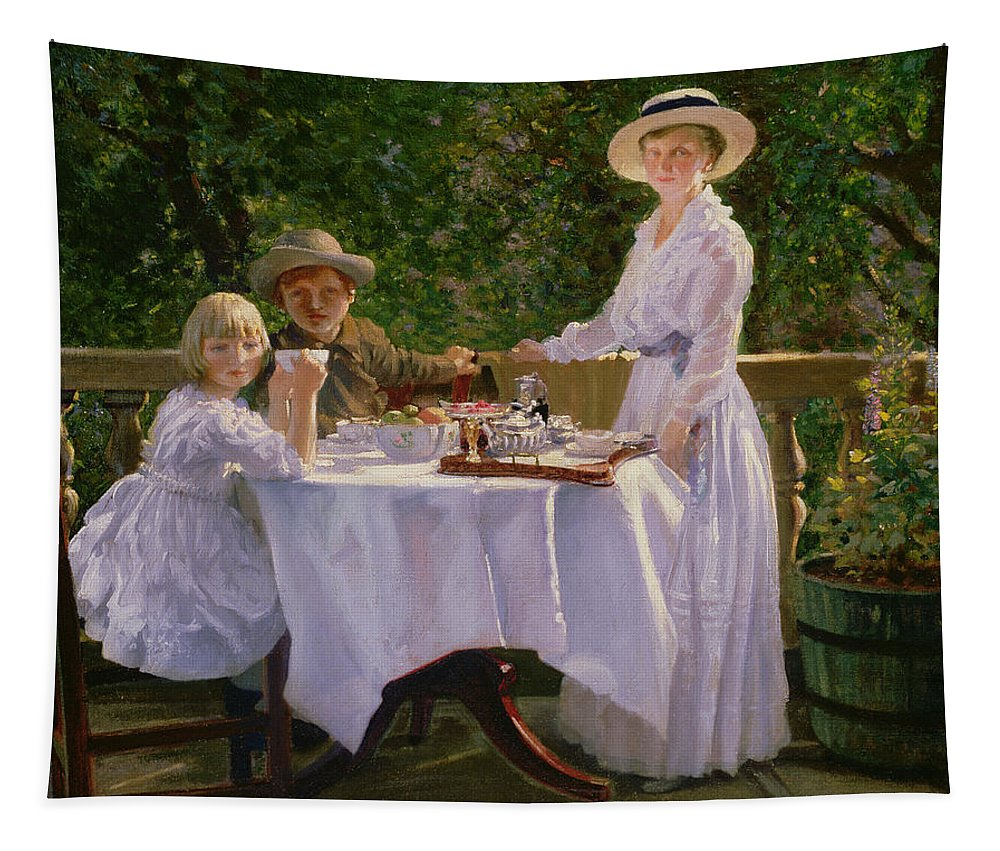 Mother; Children; Balcony; Summer; Garden Tapestry featuring the painting Summer Afternoon Tea by Thomas Barrett