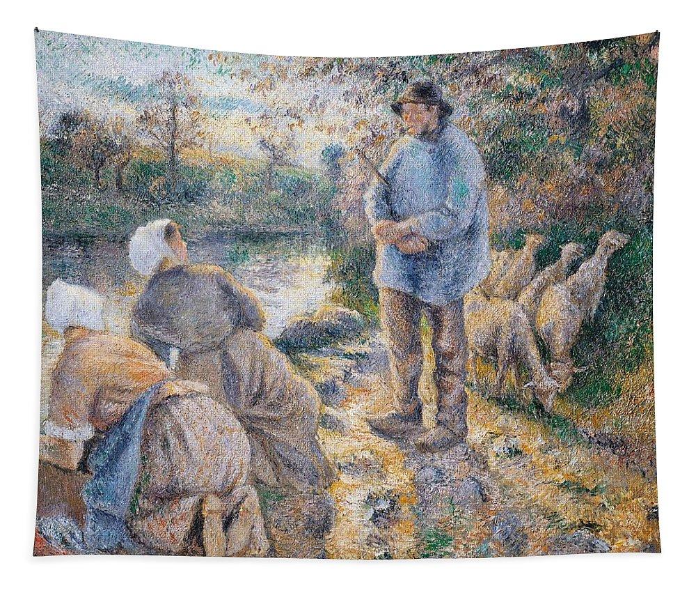 Art; Painting; 19th Century Painting; Europe; France; Pissarro Camille; Washerwoman; Impressionism Tapestry featuring the painting The Washerwomen by Camille Pissarro