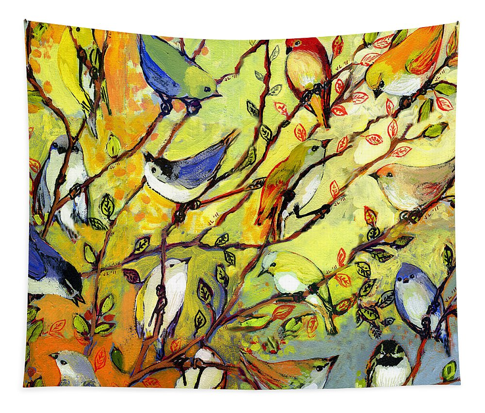 Bird Tapestry featuring the painting 16 Birds by Jennifer Lommers