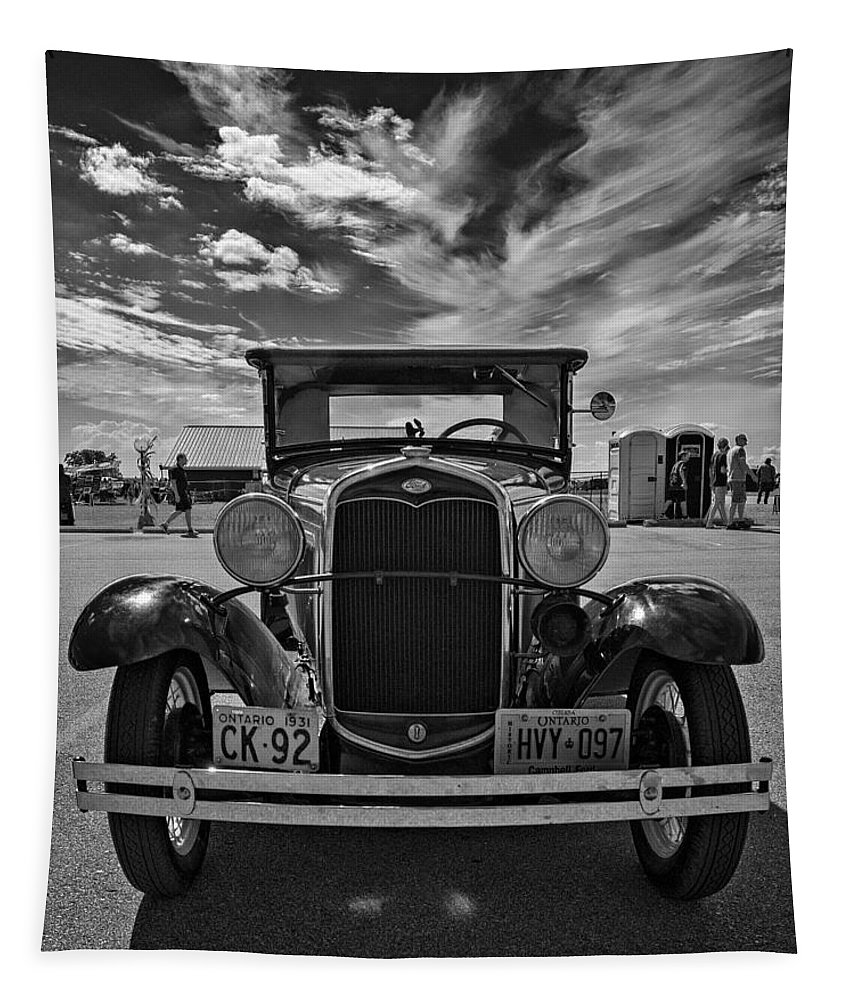 Ford Tapestry featuring the photograph 1931 Model T Ford Monochrome by Steve Harrington