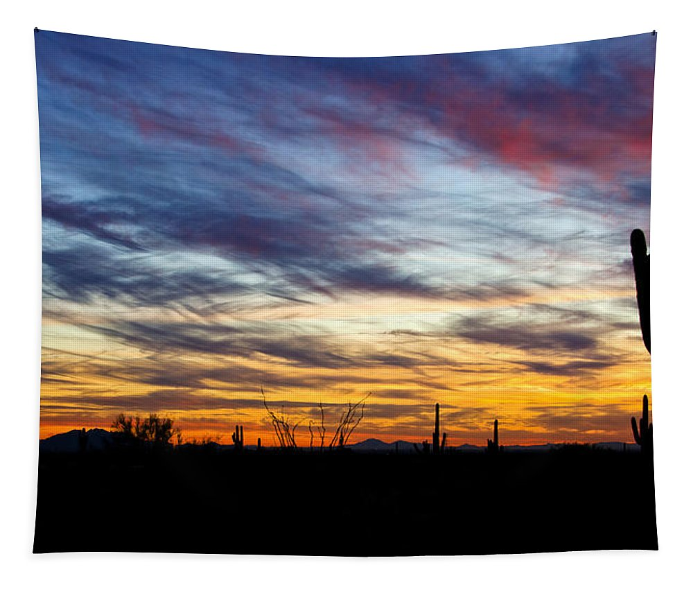 Sunset Tapestry featuring the photograph A Silhouette Sunset by Saija Lehtonen
