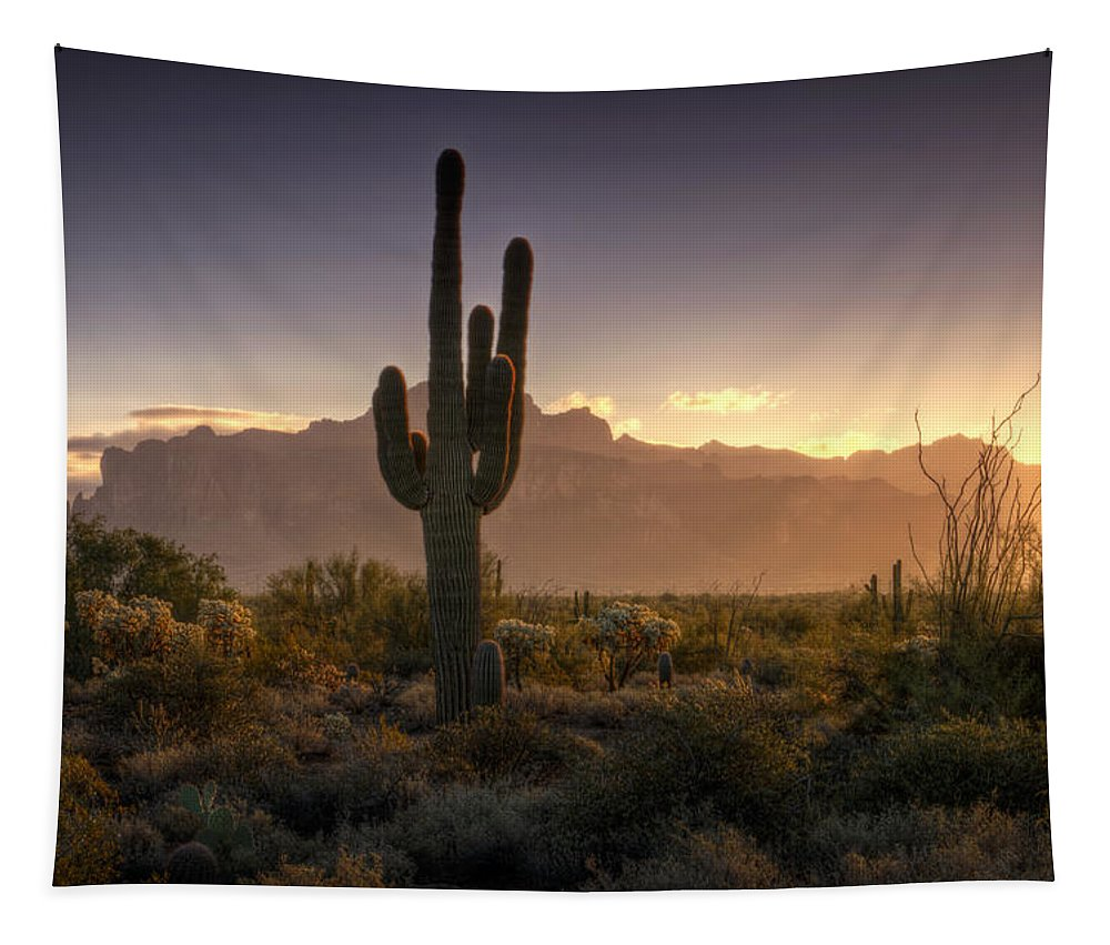 Sunrise Tapestry featuring the photograph A Superstition Sunrise  by Saija Lehtonen