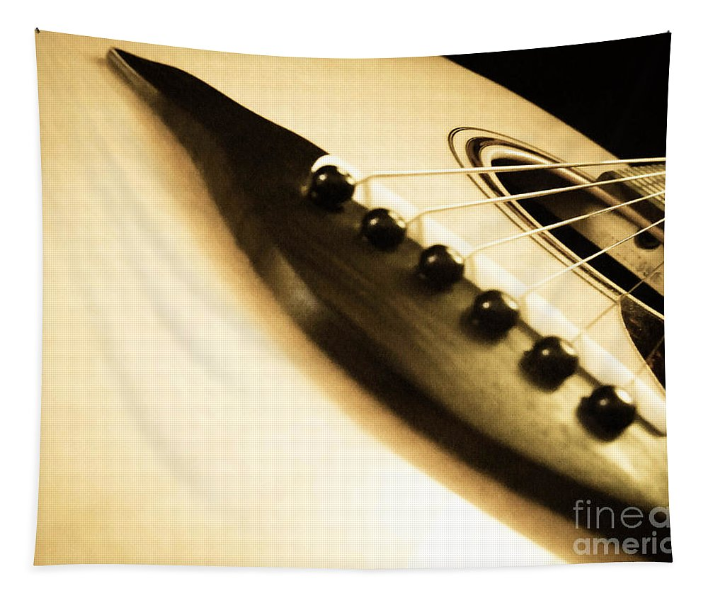 Guitar Tapestry featuring the photograph Acoustic Guitar by Andrea Anderegg