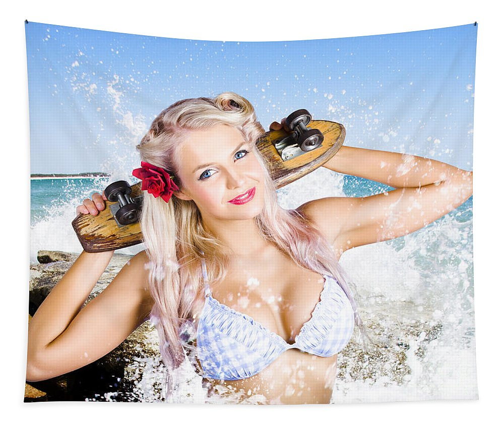 Action Tapestry featuring the photograph Active Sexy Summer Beach Babe With Skateboard by Jorgo Photography - Wall Art Gallery