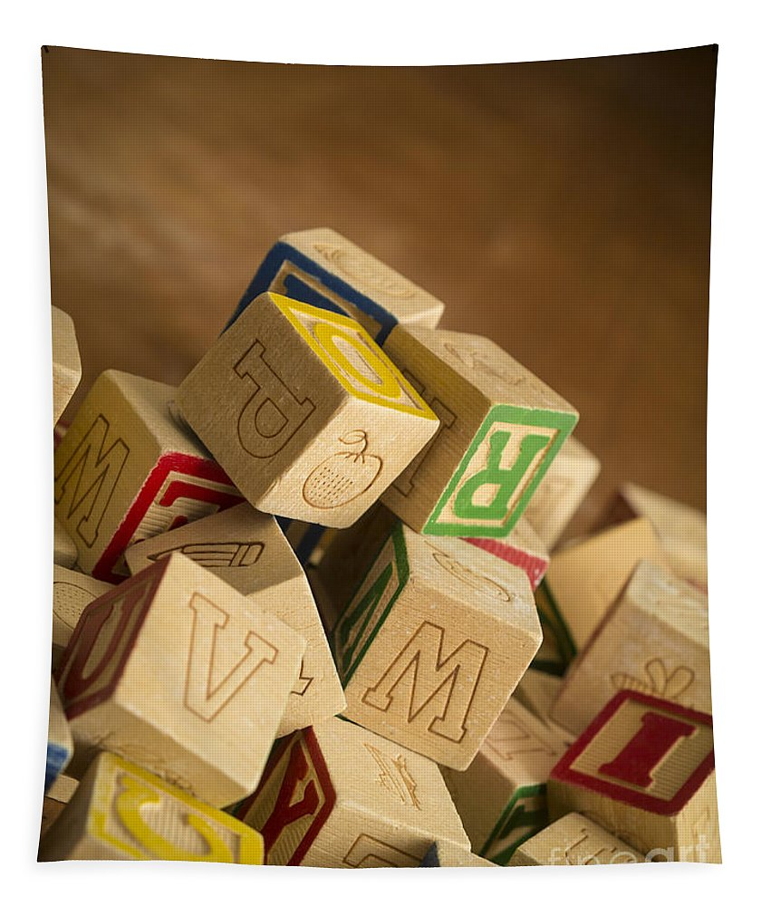 Toy Tapestry featuring the photograph Alphabet Blocks by Edward Fielding