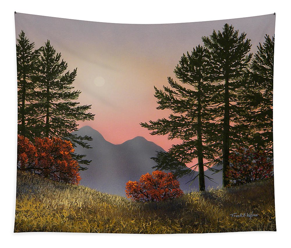 Mountains Tapestry featuring the painting Alpine View by Frank Wilson