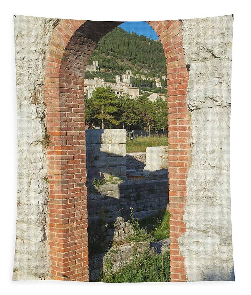 Gubbio Tapestry featuring the photograph Ancient Town Of Gubbio by Jaroslav Frank