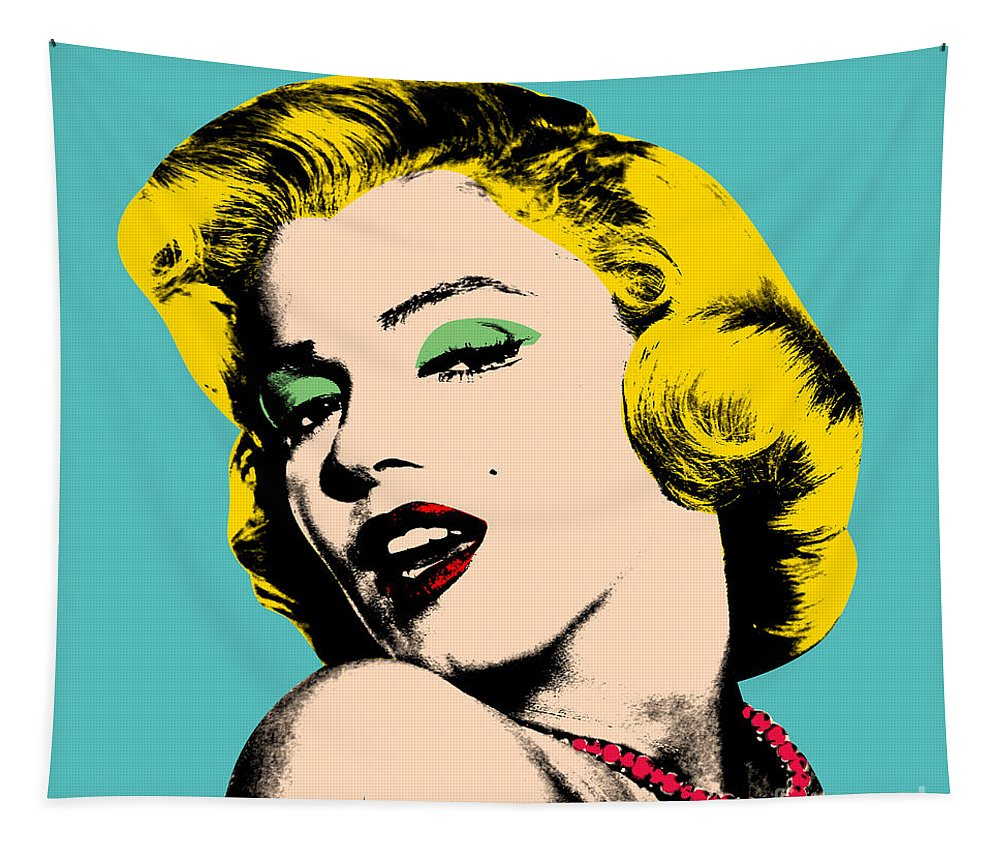 Pop Art Tapestry featuring the digital art Andy Warhol by Mark Ashkenazi
