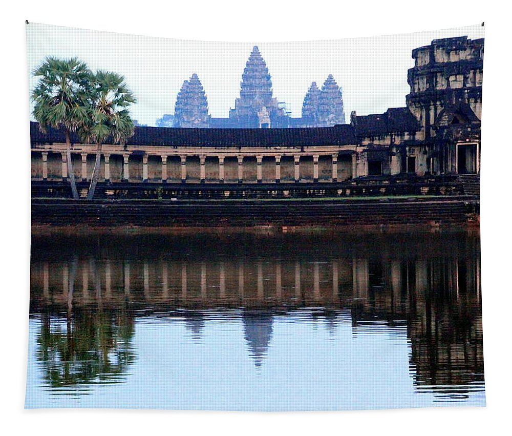 Angkor Wat Tapestry featuring the photograph Angkor Wat Reflection by Laurel Talabere