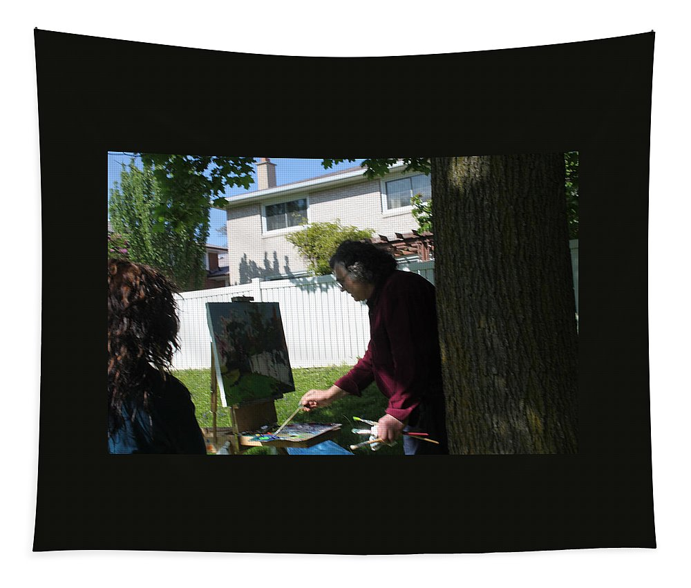 Ylli Haruni Tapestry featuring the photograph Artist At Work by Ylli Haruni