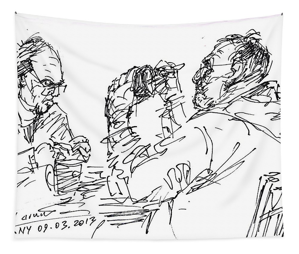 At Tim Hortons Tapestry featuring the drawing At Tim Hortons by Ylli Haruni
