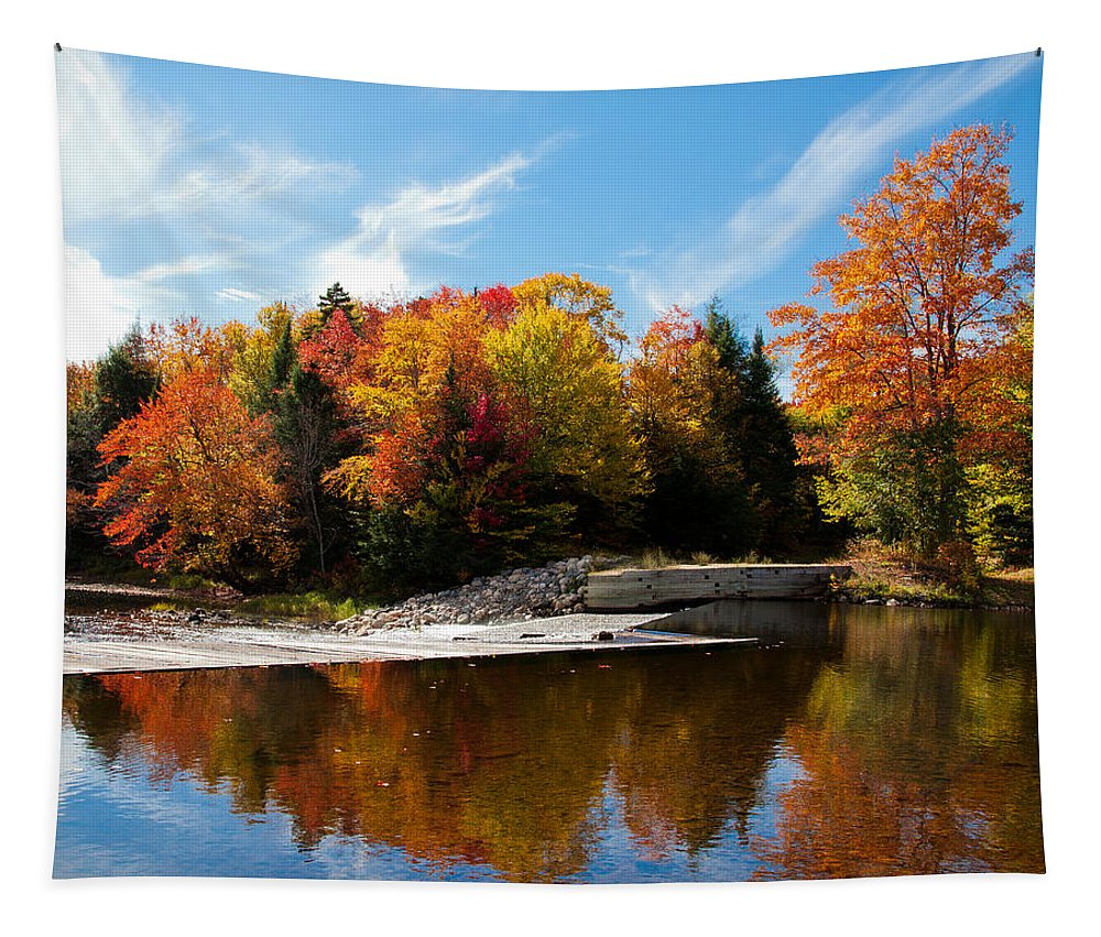 Lock And Dam Tapestry featuring the photograph Autumn At The Lock And Dam by David Patterson