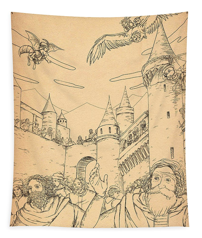 The Wurtherington Diary Tapestry featuring the drawing Battle At Unterwaldon by Reynold Jay