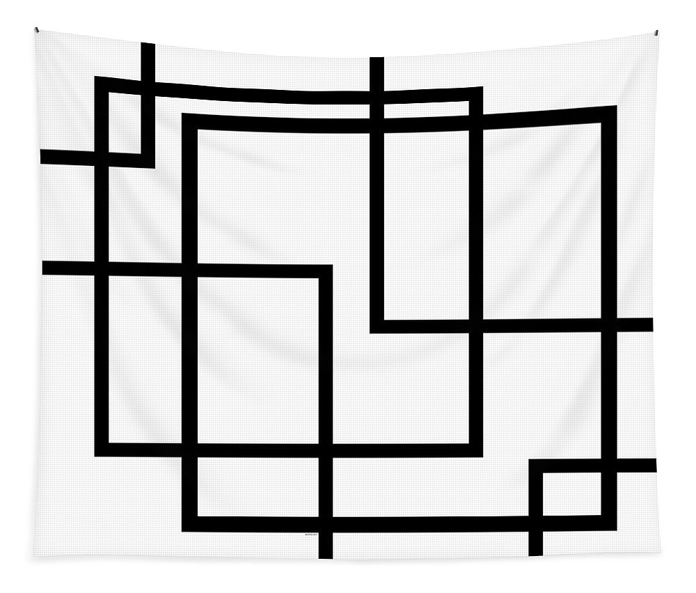 Black And White Tapestry featuring the digital art Black And White Art - 137 by Ely Arsha