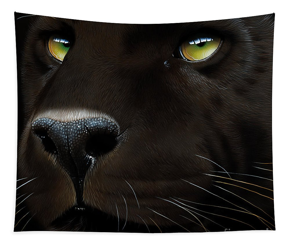 Black Panther Tapestry featuring the painting Black Leopard by Jurek Zamoyski