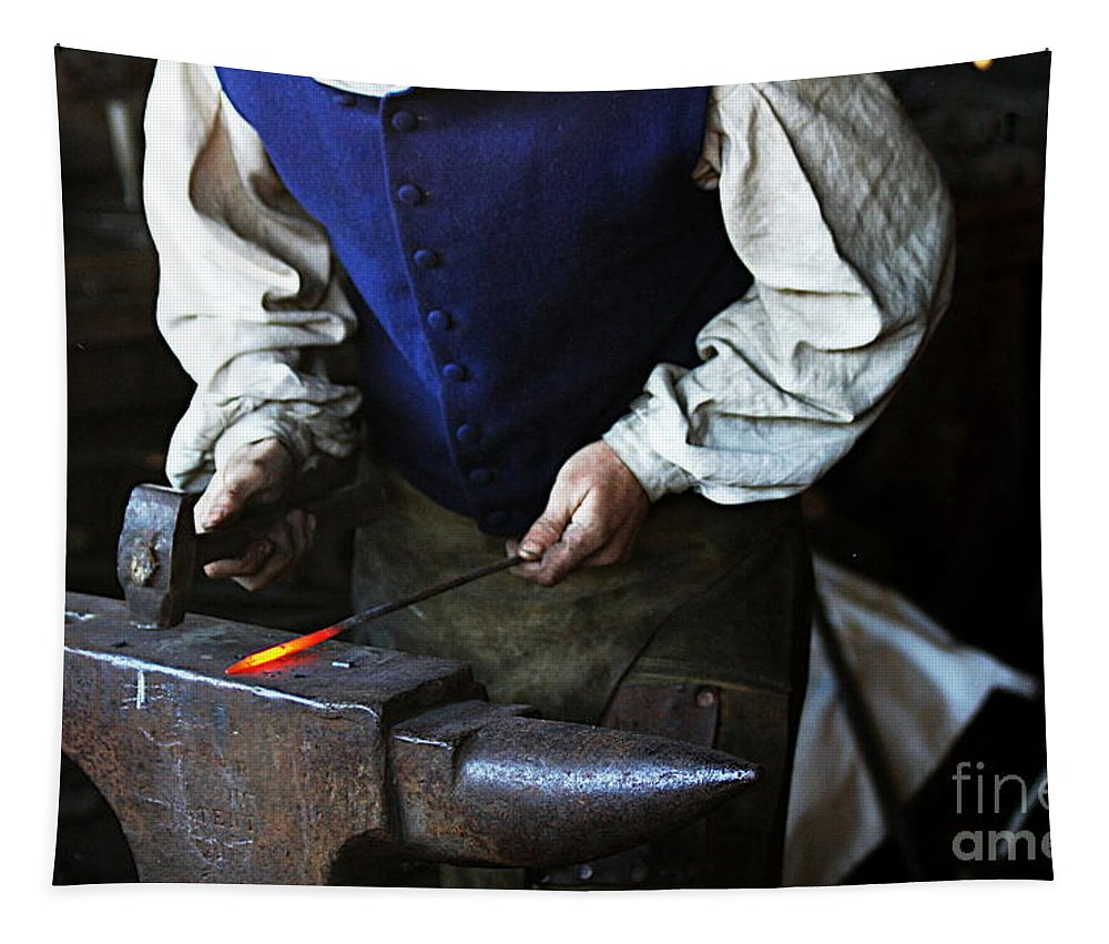 Blacksmith Tapestry featuring the photograph Blacksmith At The Old Fort by Catherine Sherman