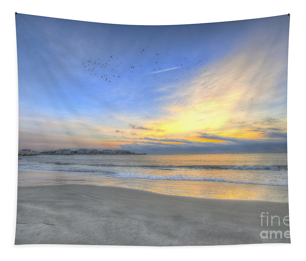 Sunrise Tapestry featuring the photograph Breach Inlet Sunrise by Dale Powell