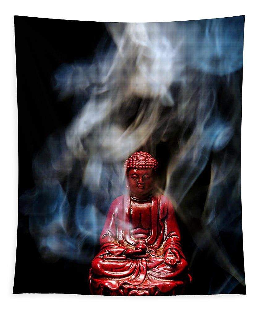 Buddha Tapestry featuring the photograph Buddha In Smoke by Olivier Le Queinec