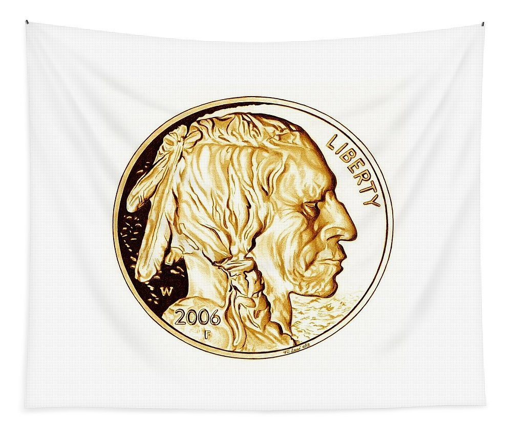 Coin Tapestry featuring the drawing Buffalo Nickel by Fred Larucci