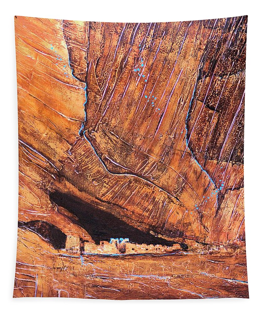 Jaxine Cummins Tapestry featuring the painting Canyon De Chelly by JAXINE Cummins