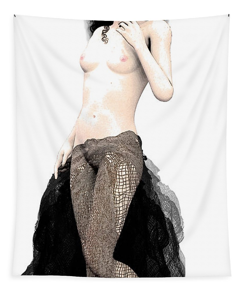 Prostitution Tapestry featuring the digital art Carmen by Quim Abella