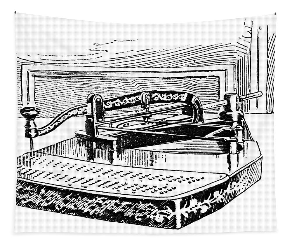1890 Tapestry featuring the painting Census Machine, 1890 by Granger