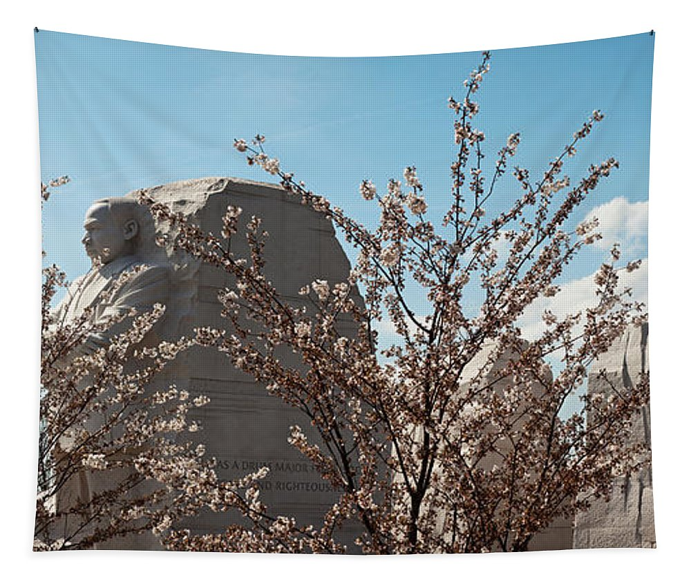 Photography Tapestry featuring the photograph Cherry Trees In Front Of A Memorial by Panoramic Images