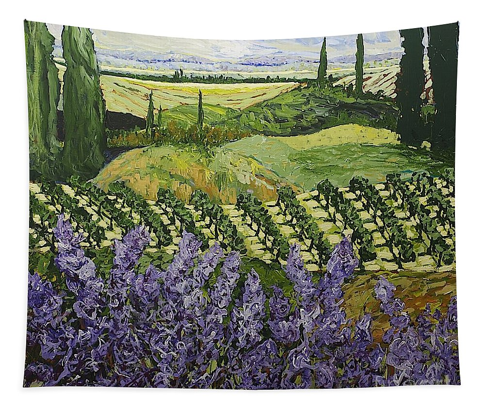 Landscape Tapestry featuring the painting Chinaberry Hill by Allan P Friedlander