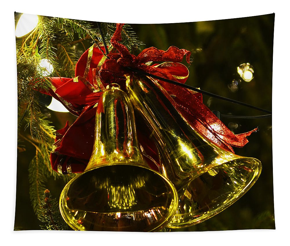 Boston Tapestry featuring the photograph Christmas Bells Ornaments Faneuil Hall Tree Boston by Toby McGuire