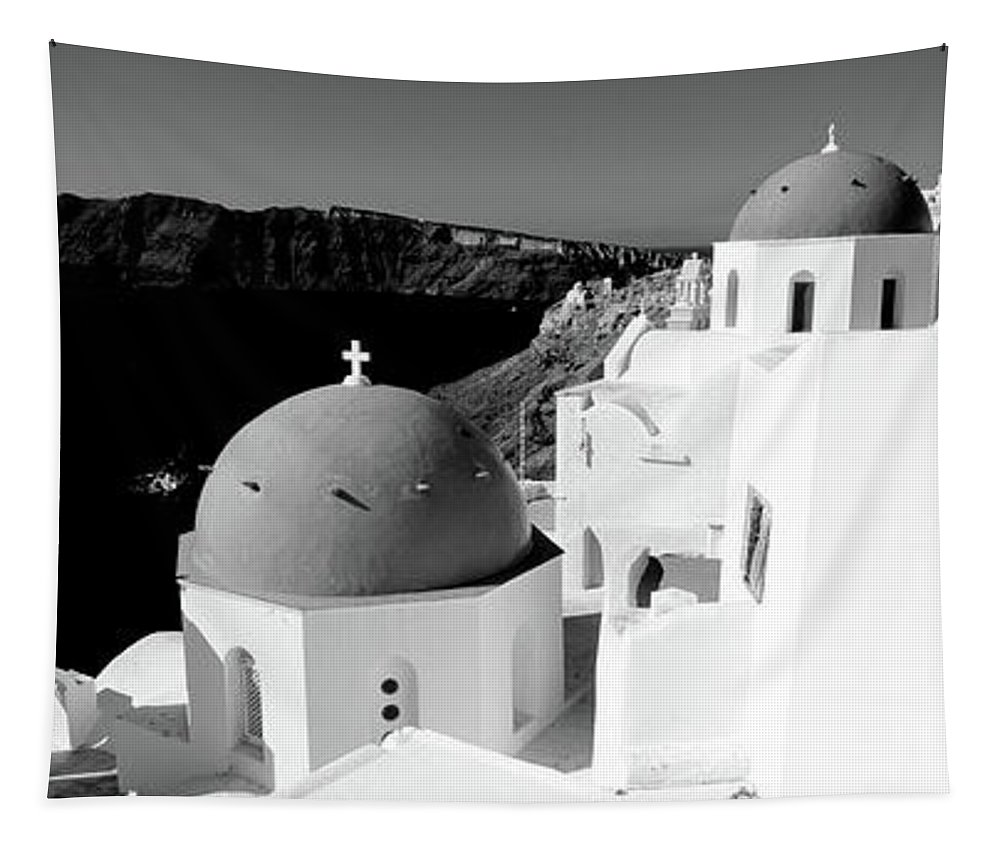 Photography Tapestry featuring the photograph Church In A City, Santorini, Cyclades by Panoramic Images