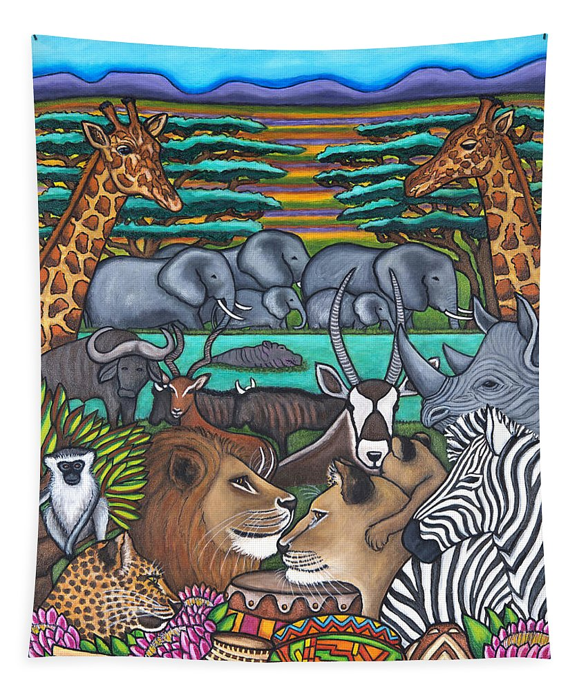 Africa Tapestry featuring the painting Colours of Africa by Lisa Lorenz