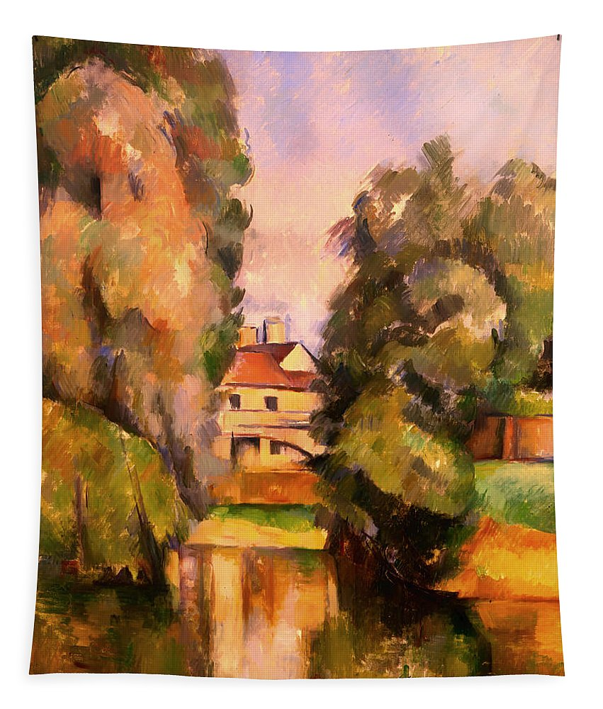 Painting Tapestry featuring the painting Country House By A River by Mountain Dreams