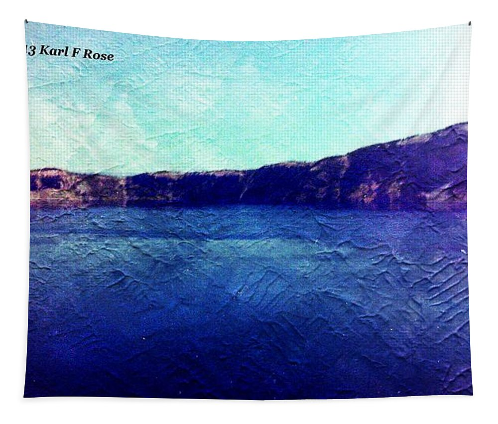 Crater Tapestry featuring the photograph Crater Lake As A Painting by Karl Rose