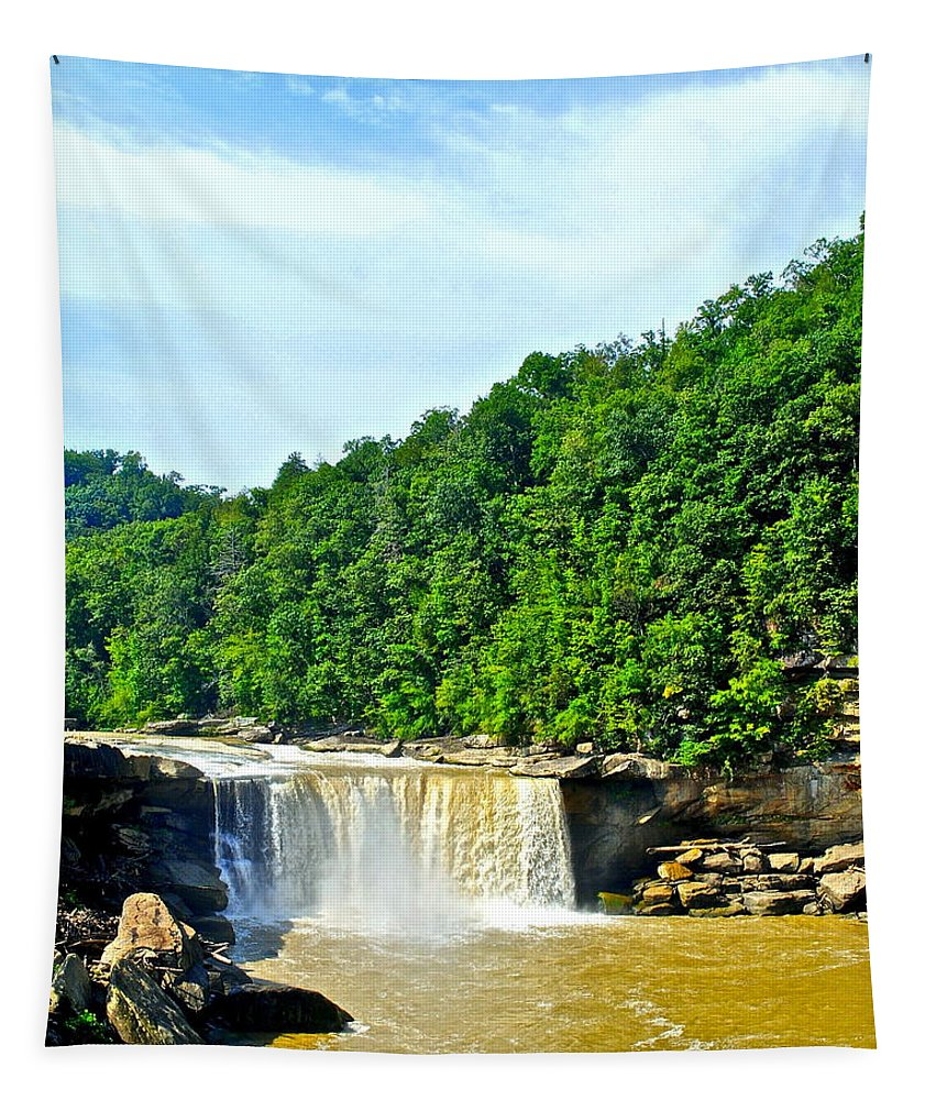 Tennessee Tapestry featuring the photograph Cumberland Falls by Frozen in Time Fine Art Photography