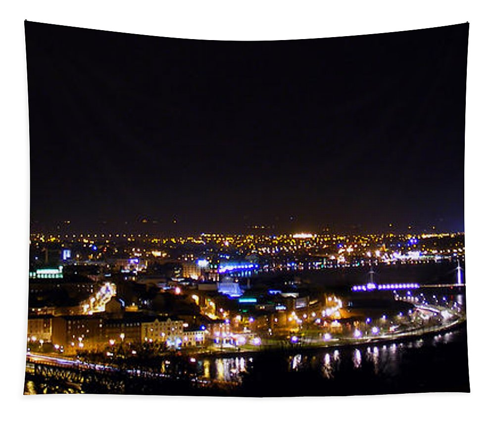 Derry Tapestry featuring the photograph Derry At Night by Nina Ficur Feenan