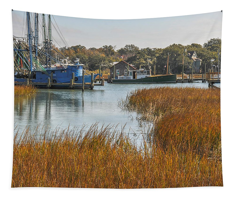 Shem Creek Tapestry featuring the photograph Dockside Paradise by Dale Powell