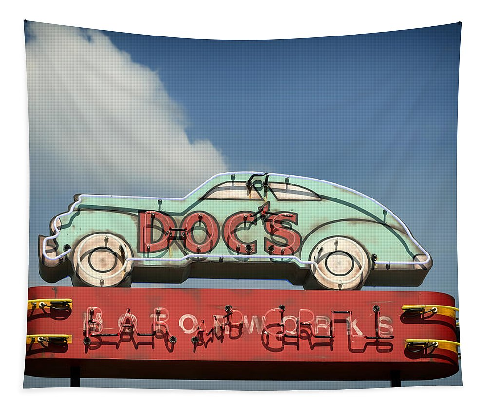 Doc's Bar And Grill Tapestry featuring the photograph Doc's Bar And Grill by Mountain Dreams