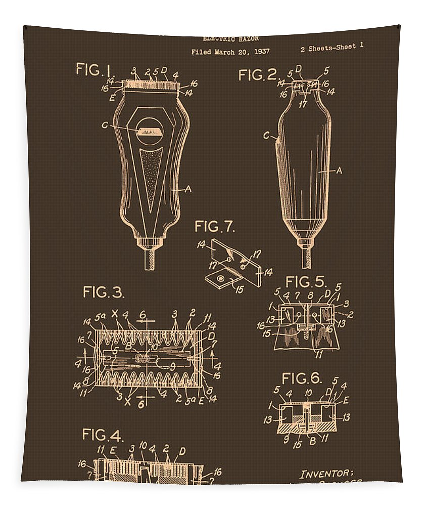 Patent Tapestry featuring the drawing Electric Razor Patent 1940 by Mountain Dreams