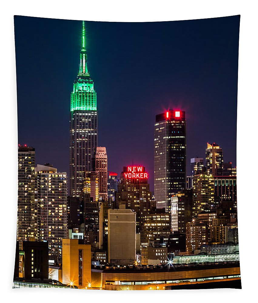 Ireland Tapestry featuring the photograph Empire State Building On Saint Patrick's Day 1 by Mihai Andritoiu